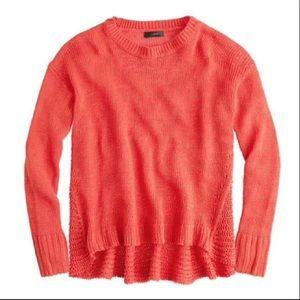 J. Crew Textured Linen Beach Sweater in Orange